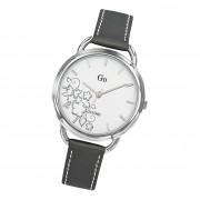 Girl Only Damen Armbanduhr GO 699107 Analog Quarz Uhr Leder grau weiß UGO699107