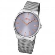 LOTUS Herren Damen-Uhr Stahlband klassisch Quarz Edelstahl silber UL18285/2