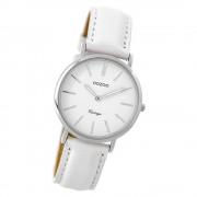 Oozoo Damen Armbanduhr silber Ultra Slim Quarz C9313 Lederarmband weiß UOC9313