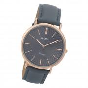 Oozoo Damen Armbanduhr Ultra Slim C9338 Analog Leder blau grau UOC9338