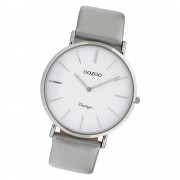 Oozoo Damen Armbanduhr Ultra Slim C9960 Quarzwerk Leder grau UOC9960