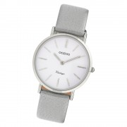 Oozoo Damen Armbanduhr Ultra Slim C9970 Quarzwerk Leder grau UOC9970