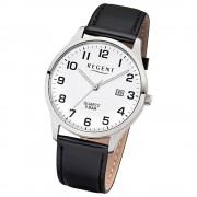 Regent Herren-Armbanduhr 32-1113405 Quarz-Uhr Leder-Armband schwarz UR1113405