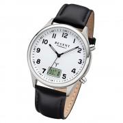 Regent Herren Armbanduhr Analog-Digital BA-446 Funk-Uhr Leder schwarz URBA446