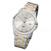 Regent Herren-Armbanduhr 32-F-1013 Quarz-Uhr Edelstahl-Armband silber gold URF1013