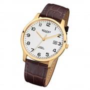 Regent Herren-Armbanduhr 32-F-1026 Quarz-Uhr Leder-Armband braun URF1026