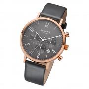 Regent Herren-Armbanduhr 32-F-1038 Quarz-Uhr Leder-Armband anthrazit grau URF1038