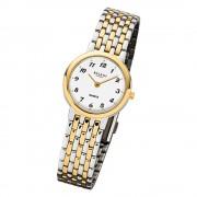 Regent Damen-Armbanduhr F-1048 Uhr Edelstahl-Armband silber gold URF1048
