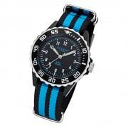 Regent Kinder, Jugend-Armbanduhr 32-F-1126 Quarz-Uhr Textil, Stoff-Armband schwarz blau URF1126