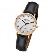 Regent Damen Armbanduhr Analog F-1218 Quarz-Uhr Leder schwarz URF1218
