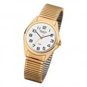 Regent Herren-Armbanduhr F-296 Quarz-Uhr Stahl-Armband gold URF296