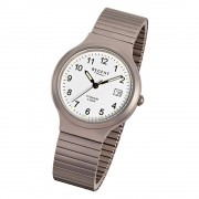 Regent Damen, Herren-Armbanduhr F-300 Quarz-Uhr Titan-Armband silber grau URF300