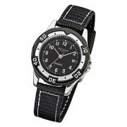 Regent Kinder-Armbanduhr F-317 Quarz-Uhr Textil-Stoff-Armband schwarz URF317