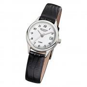 Regent Damen-Armbanduhr F-326 Quarz-Uhr Leder-Armband schwarz URF326