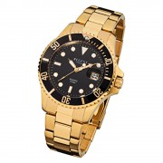 Regent Herren-Armbanduhr F-370 Quarz-Uhr Stahl-Armband gold URF370