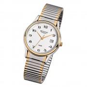 Regent Herren-Armbanduhr F-472 Quarz-Uhr Stahl-Armband silber gold URF472