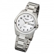 Regent Herren-Armbanduhr F-524 Quarz-Uhr Stahl-Armband silber weiß URF524