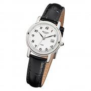 Regent Damen-Armbanduhr F-572 Quarz-Uhr Leder-Armband schwarz URF572