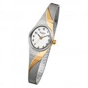 Regent Damen-Armbanduhr F-623 Quarz-Uhr Stahl-Armband silber gold URF623
