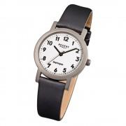 Regent Damen-Armbanduhr F-663 Titan-Uhr Leder-Armband schwarz URF663