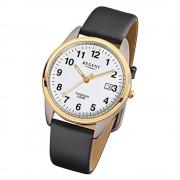 Regent Herren-Armbanduhr F-687 Titan-Uhr Leder-Armband schwarz URF687