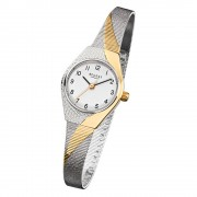 Regent Damen-Armbanduhr F-746 Quarz-Uhr Stahl-Armband silber gold URF746
