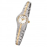 Regent Damen-Armbanduhr F-747 Quarz-Uhr Stahl-Armband silber gold URF747