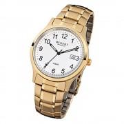 Regent Herren-Armbanduhr F-776 Quarz-Uhr Stahl-Armband gold URF776