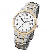 Regent Herren-Armbanduhr F-777 Quarz-Uhr Stahl-Armband gold silber URF777