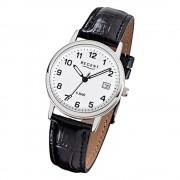 Regent Herren-Armbanduhr F-791 Quarz-Uhr Leder-Armband schwarz URF791