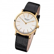 Regent Damen-Armbanduhr F-830 Quarz-Uhr Leder-Armband schwarz URF830