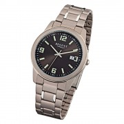 Regent Herren-Armbanduhr Mineralglas Quarz Titan silber grau URF841