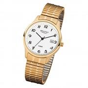 Regent Herren-Armbanduhr F-876 Quarz-Uhr Stahl-Armband gold URF876
