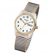 Regent Herren-Armbanduhr F-880 Quarz-Uhr Stahl-Armband silber gold URF880