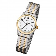 Regent Damen, Herren-Armbanduhr F-887 Quarz-Uhr Stahl-Armband silber gold URF887