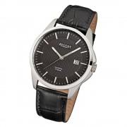 Regent Herren-Armbanduhr F-914 Quarz-Uhr Leder-Armband schwarz URF914