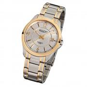 Regent Herren-Armbanduhr F-920 Quarz-Uhr Stahl-Armband silber gold URF920