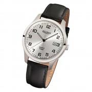 Regent Herren-Armbanduhr Mineralglas Quarz Leder schwarz URF931