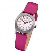 Regent Kinderuhren Quarzwerk Leder-Armband pink Kinder-Armbanduhren URF946