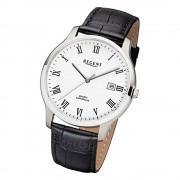 Regent Herren-Armbanduhr F-960 Quarz-Uhr Leder-Armband schwarz URF960