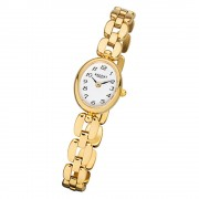 Regent Damen-Armbanduhr F-968 Quarz-Uhr Mini Stahl-Armband gold URF968