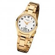 Regent Damen-Armbanduhr 32-FR-195 Funkuhr Edelstahl-Armband gold URFR195