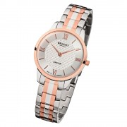 Regent Damen Armbanduhr Analog GM-1414 Quarz-Uhr Metall silber rosegold URGM1414