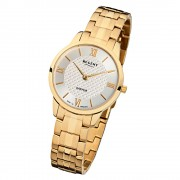 Regent Damen Armbanduhr Analog GM-1415 Quarz-Uhr Metall gold URGM1415