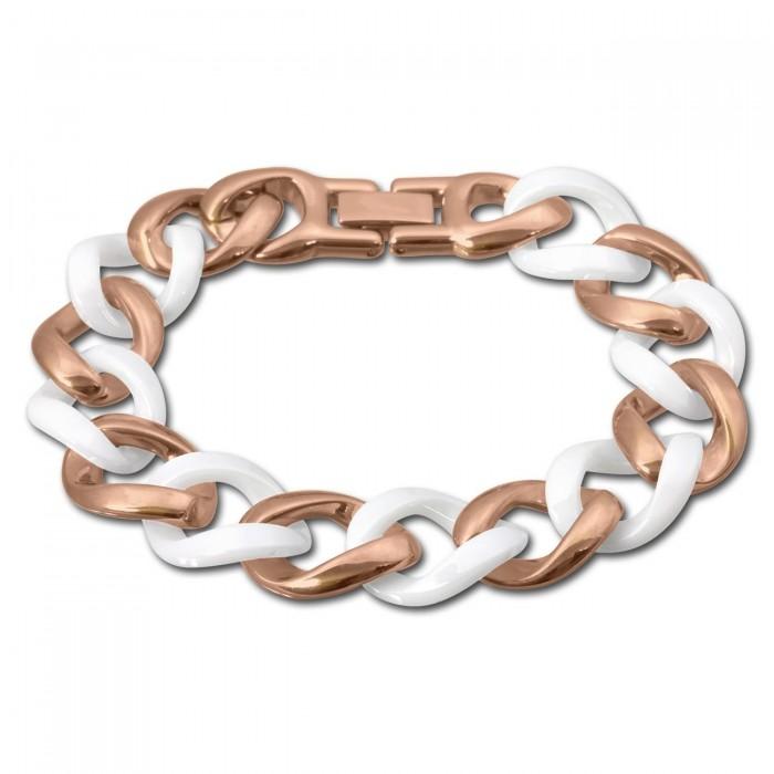 Amello Nappa Leder Armband Zirkonia weiß rose vergoldet Edelstahlband LAQ023W9