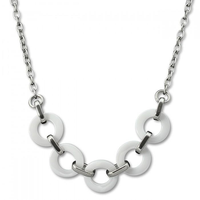 Halskette Keramik Herz weiß Damen Edelstahlschmuck ESKX26W von AMELLO