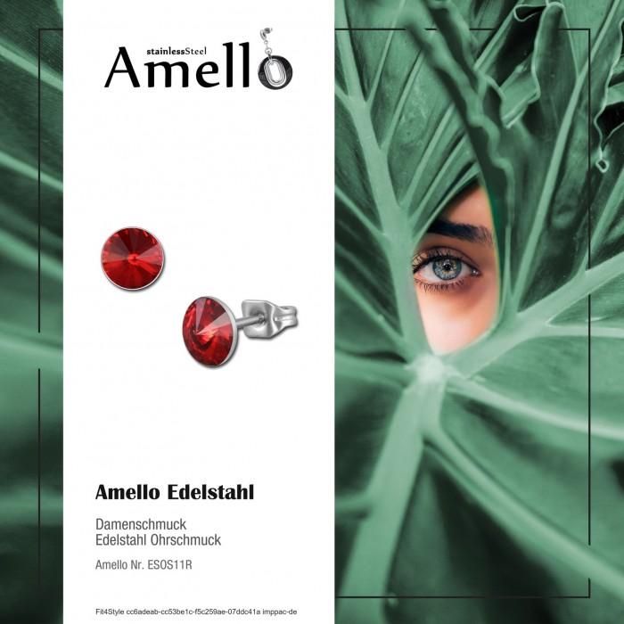 Amello Damen Edelstahl Ohrringe Zirkonia Ohrstecker hellblau rund ESOS11H