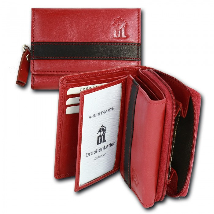 Portmonnaie Hochformat rot Leder Damen Geldbörse Brieftasche OPD716R