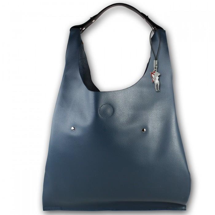 e2381e8cc235c Glüxklee klassischer XL Damen Shopper Kunstleder Henkeltasche jeansblau  OTD108B