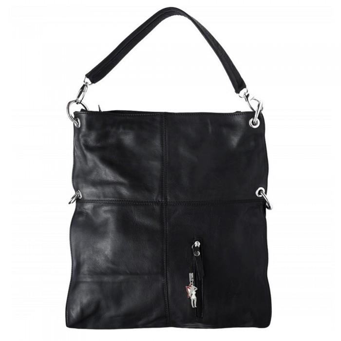cf1d9a1b9b3c0e Schultertasche Umhängetasche Leder schwarz Damen Hobo Bag DrachenLeder  OTF102S